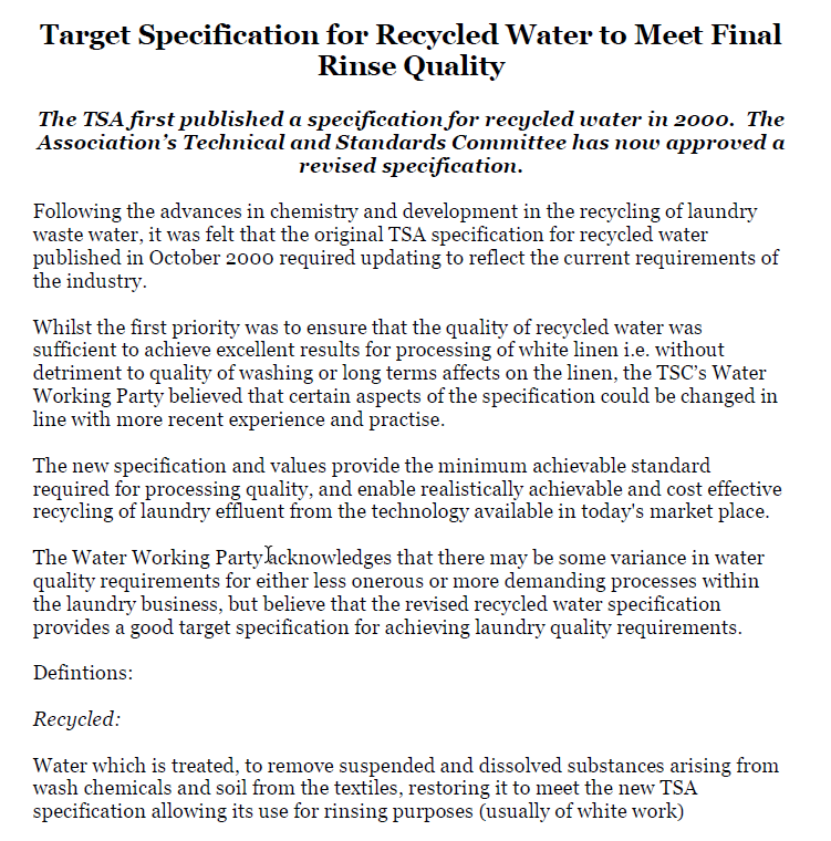 TSA Recycled Water Specification 2008