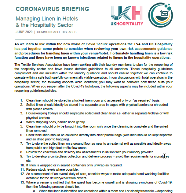 TSA UKH Joint Guidance for Hotels- Post Lockdown Coronavirus Briefing- Managing Linen in Hotels