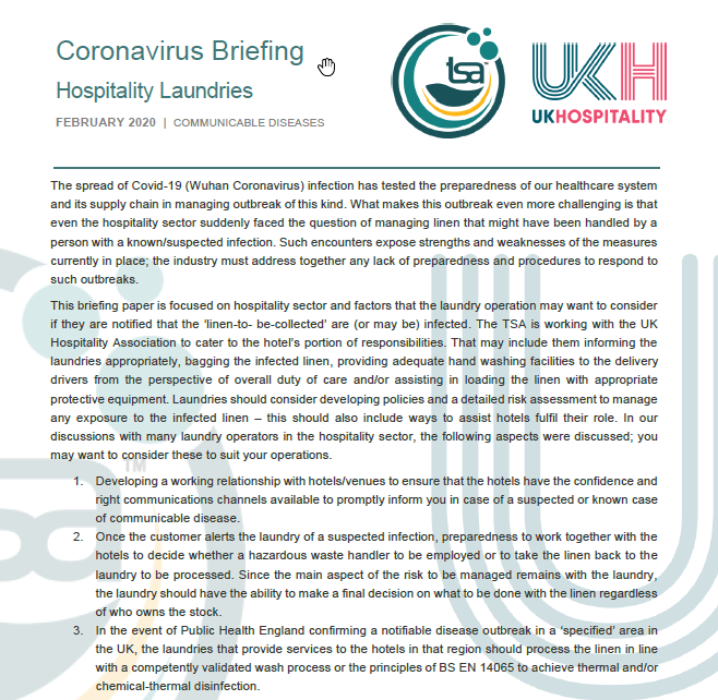 TSA UKH Joint Guidance for Laundries - Coronavirus Briefing- Managing Linen in Laundries
