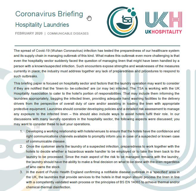 TSA UKH Joint Guidance for Laundries - Coronavirus Briefing- Managing Linen in Laundries